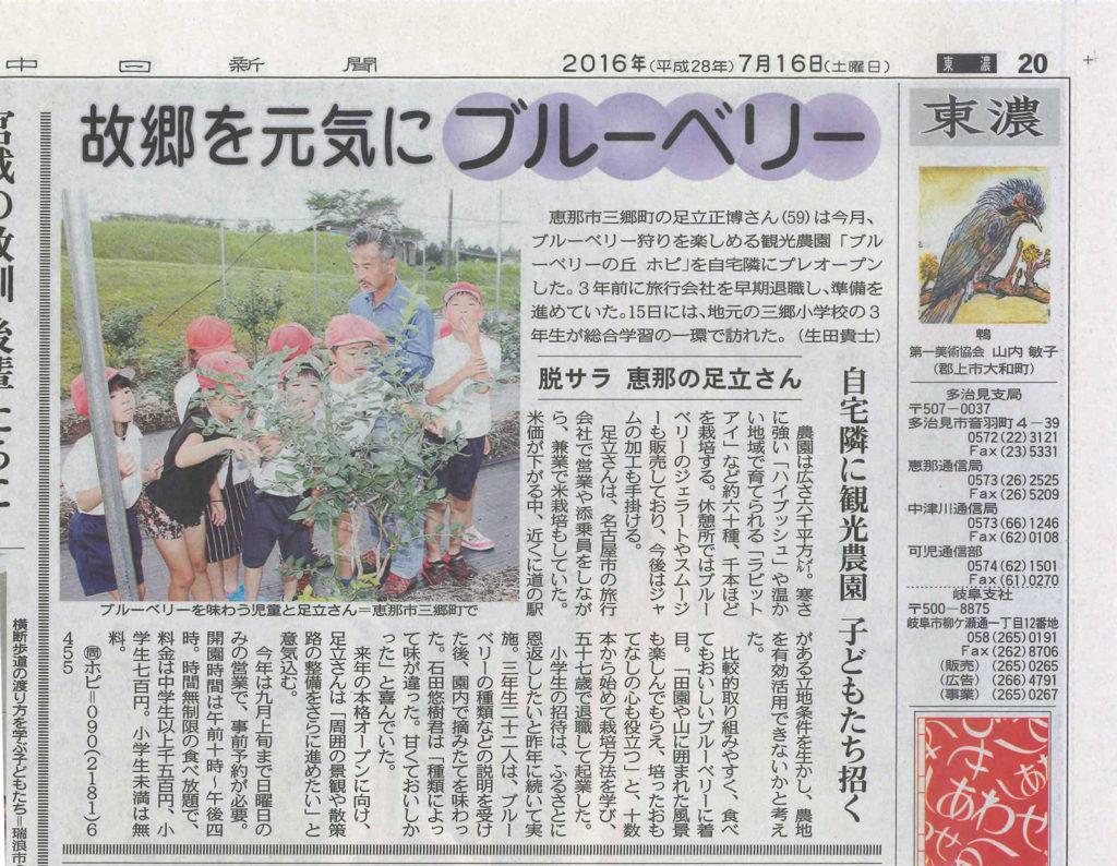 中日新聞ブルーベリーの丘ホピの記事